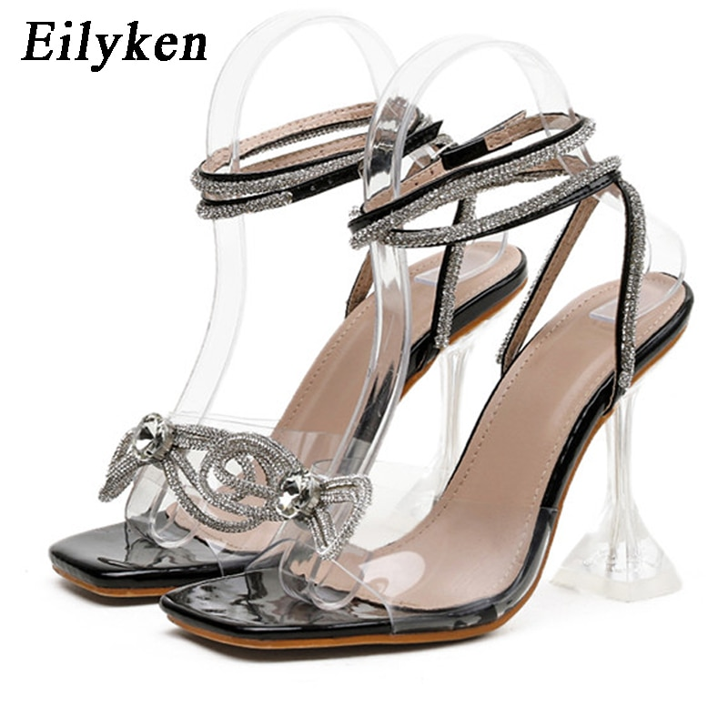 Women Sandals Open Toe Pu Shoes Buckle Strap Square Heel String Bead Gladiator