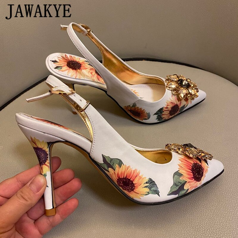 Women Pointed Shallow  Heels Stiletto Party Slingback Pumps
